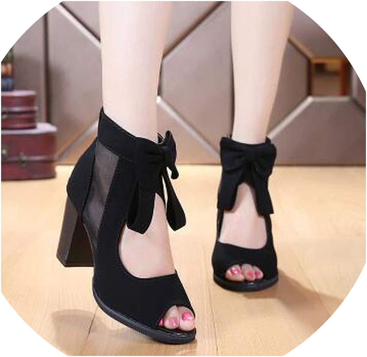 Fish Head Hollow Women shoes Sandals Lace Suede Leather shoes Woman Sandals Sexy Ankle Boots
