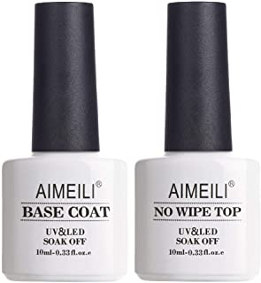 AIMEILI Soak Off UV Gel Polish Base Coat and No Wipe Top Coat Set (2x10ml), Upgraded Formula Long Lasting Mirror Finish Gel Polish