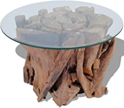 Tidyard Coffee Table with Solid Teak Driftwood Base and Tempered Glass Tabletop Fully Handmade Living Room Home Furniture ...