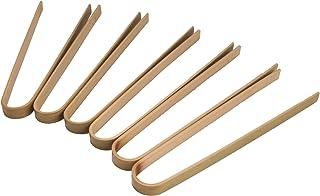 "BambooMN Brand - 6.3"" Mini Bamboo Disposable Tongs - Toast Tongs - 100pcs"