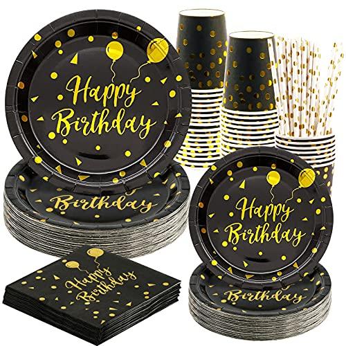 Rorchio 120 piezas de vajilla de fiesta de cumpleaños, color negro y dorado, para niñas, platos de papel para boda, vasos de papel, servilletas, pajitas de cóctel y pajitas negras, para 24 invitados
