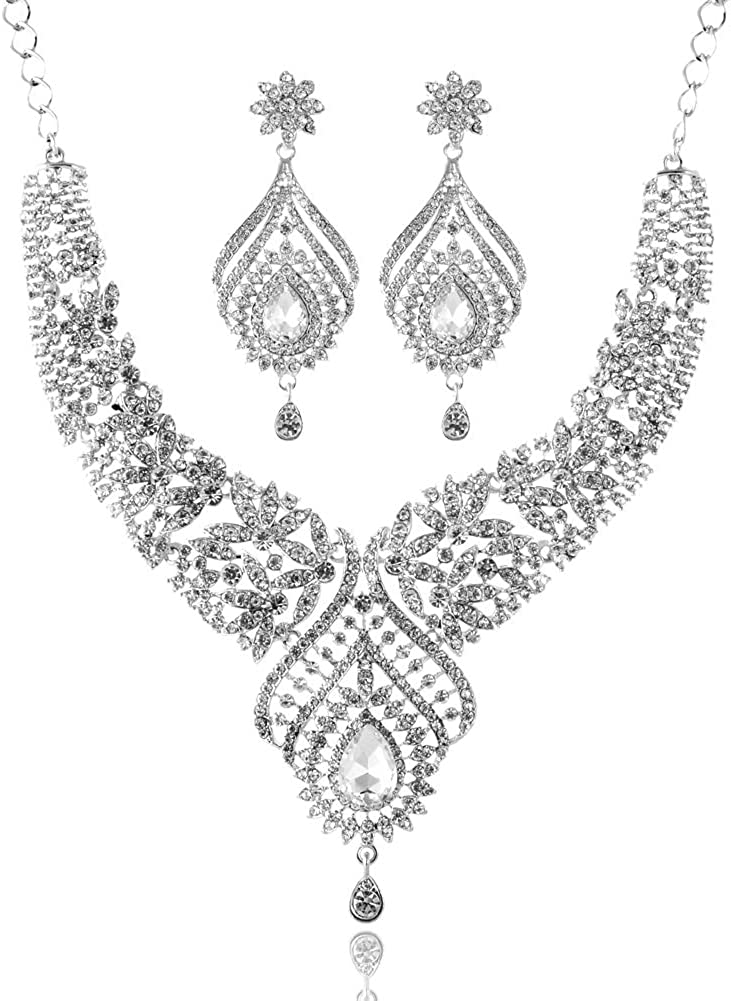 LAN PALACE New 3 Colors Austrian Crystal Women Glass Statement Jewelry Set Necklace and Earrings for Wedding Party with Gift Box