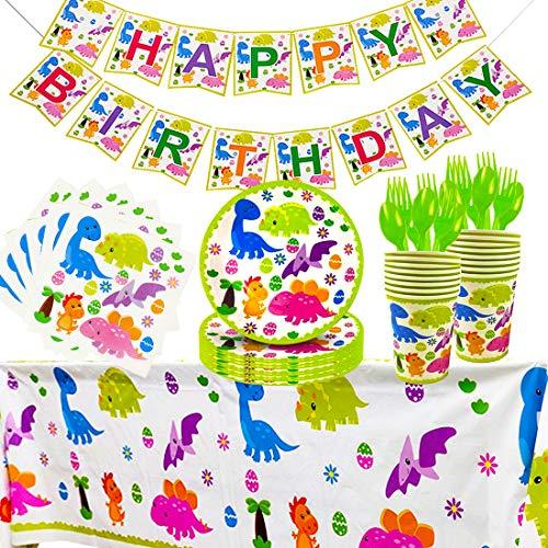 BETOY Partyzubehör Set Dinosaurier Dinosaurier Geburtstag Party Set 82 Stück Partyzubehör Set mit Banner Teller Becher Servietten und Gabellöffel für Kinder Geburtstag Dinosaurier Dekoration