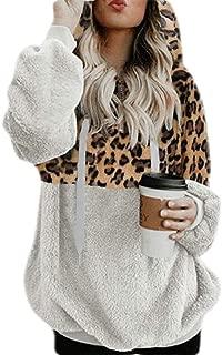 FSSE Women Fall Winter Loose Fit Leopard Print Sherpa Pullover Hooded Sweatshirts