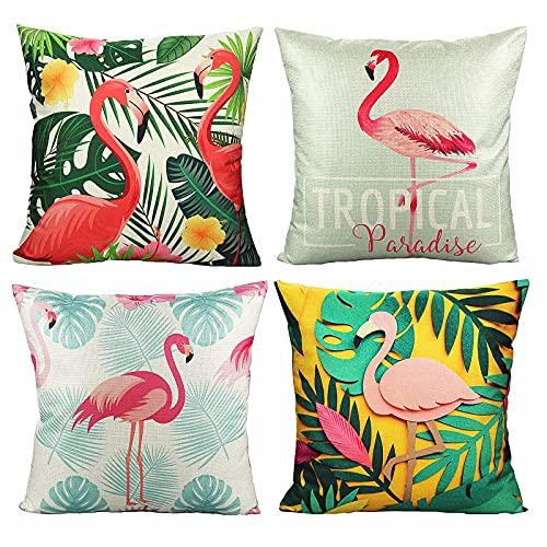 Fodere per cuscini per esterni Fodere per cuscini Fenicotteri tropicali Federe per cuscini Uccelli Foglie Citazione Decorazioni per la casa 18x18 Set di 4 per mobili da giardino Divano Divano letto