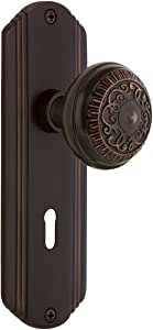 Nostalgic Warehouse Deco Plate with Keyhole Privacy Egg & Dart Door Knob in Timeless Bronze