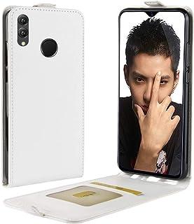 حقيبة جلدية متعددة الوظائف نمط الأعمال العمودي الوجه غطاء حماية خلفي جلد لهواوي هونر 8X، مع فتحة بطاقة (أسود) (اللون: أبيض)