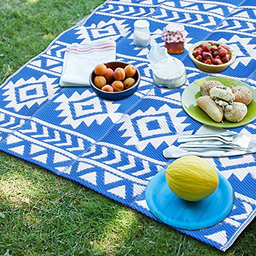SAND MINE Reversible Mats, Plastic Straw Rug, Fade Resistant Area Rug, Large Floor Mat and Rug for Outdoors, RV, Patio, Backyard, Deck, Picnic, Beach, Trailer, Camping (5' x 8', Blue & White)