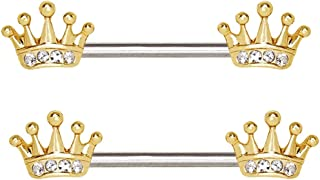 14 GA Tiara Crown Sparkle Nipple Barbell Ring 316 L Body Ring Davana Enterprises Sold by Pair