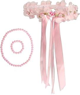 kilofly Flower Girls Wedding Floral Wreath Headpiece + Necklace Bracelet Set