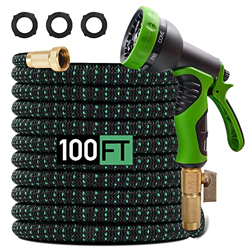 """Expandable Garden Hose 100ft Retractable Water Hose, Outdoor Yard Hose Flexible Garden Hose with 9 Modes Spray Nozzle, 3/4"""" Solid Brass Fitting, 4 Layer Latex Core, Ideal for All Watering Needs"""
