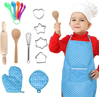 16 PCS Chef Set for Kids Cooking and Baking Set Role Play Dress Up Chef Costume with Apron, Chef Hat, Utensils, Oven Mitt for Boys Girls Toddlers