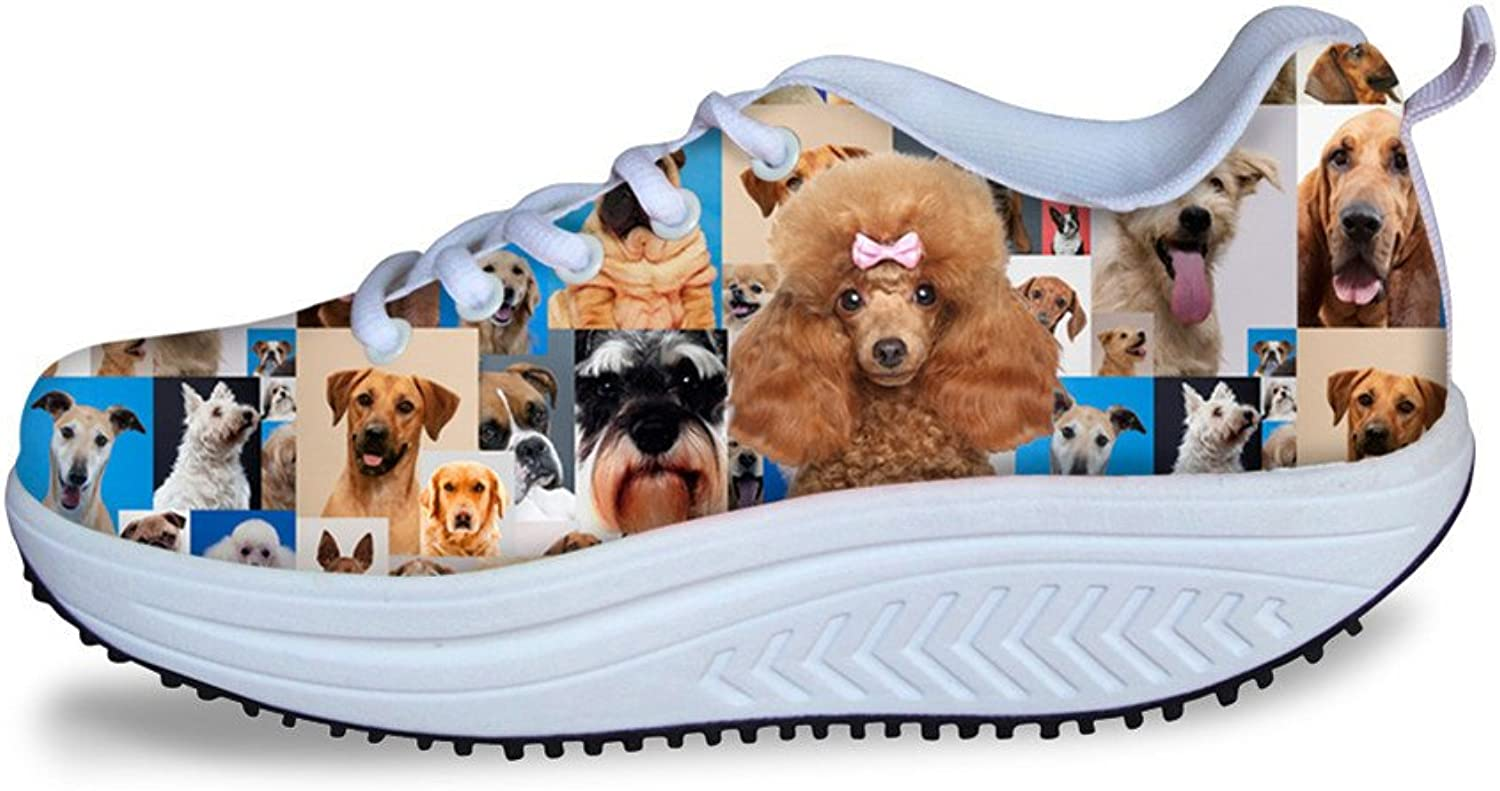 Chaqlin Lace Up Women Flats shoes Casual Breathable Mesh Female Footwear with Teddy Dog Printing US 6