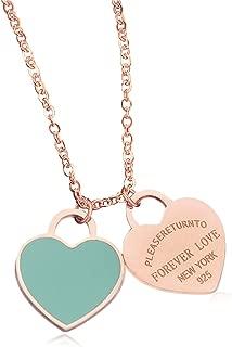 Designer Inspired Rose Gold Titanium Steel Forever Love Double Heart Pendant Necklace