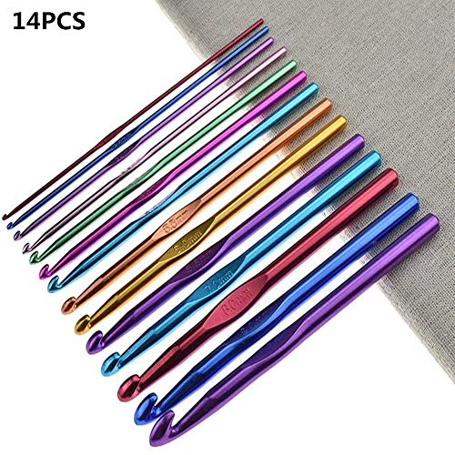 14PCS Crochet Hooks Set, Multicolor Crochet Needles Kit for Women, Crochet Hook accessorie,Craft,Yarn Needle,Gifts (2-10mm)
