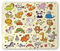 キッズマウスパッド、漫画パンダフォックスエレファントチキン鳥マウス動物保育園子供部屋かわいい、標準サイズ長方形滑り止めゴムマウスパッド、多色