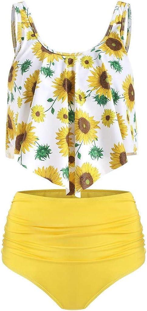 Forthery Women Ruffled High Waisted Tankini Set Retro Flounce Flounce Swimwear Sunflower Buttom 2PC Bathing Suit(Yellow B,L=US 8)