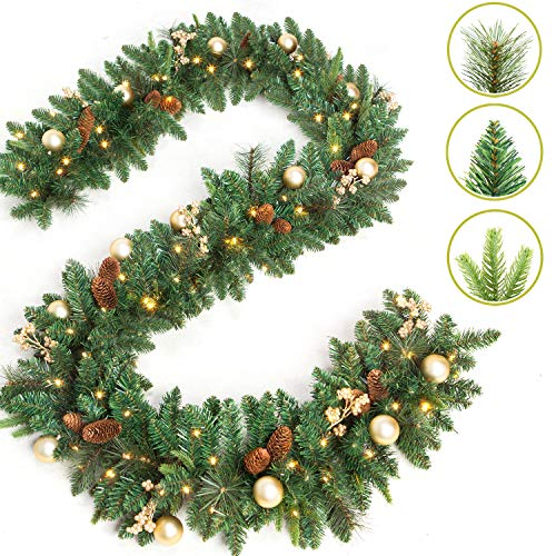 LIFEFAIR 9 Foot by 12 Inch Christmas Garland with 50...