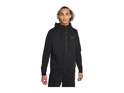 Nike NSW Club Hoodie Full Zip (Black/Black/University Red) Men