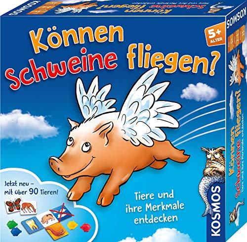 KOSMOS 697952 Können Schweine fliegen? Jubiläumsedition, Tiere und ihre Merkmale entdecken, Kinderspiel ab 5 Jahre, für 2-4 Personen, lustiges Familienspiel