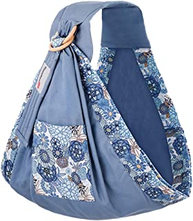 Tuscom Baby Wrap Carrier and Ring Sling - Extra Soft Cotton Muslin Baby Slings Adjustable Nursing Cover for Newborns, Infants, Toddlers and Babies - Best Baby Shower Gift for Boys and Girls (Blue)