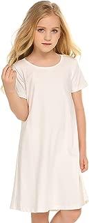 Kids Girls Cotton Long & Short Sleeve Solid Casual T-Shirt Dress