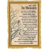 Memorial Blanket  As I Sit in Heaven  Loss a Loved One Remembrance Throw Blanket, Angel in Heaven, Memorial Sympathy Gift for Loss of Father, Mother, Husband, Wife  N2129 (60x80 inch)