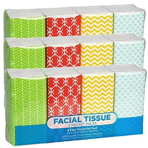 Pocket Sized Travel Facial Tissue, 24 Packets, 216 Sheets, Geometric Print