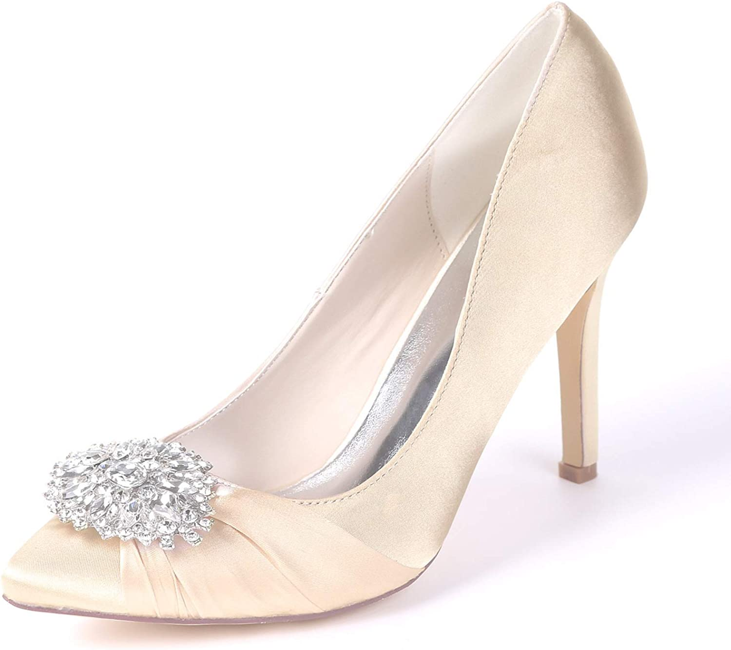 CCBubble High Heels Satin Bridal Pumps Pointed Toe Crystals Prom Evening Party Women shoes 0608-01AB