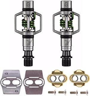 CRANKBROTHERs Crank Brothers Eggbeater 2 Hangtag Bike Pedals with Premium Cleats and Bicycle Shoe Shields Set (Green)