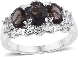 Smoky Quartz White Topaz Statement Ring for Women Cttw 2.5 Jewelry Gift