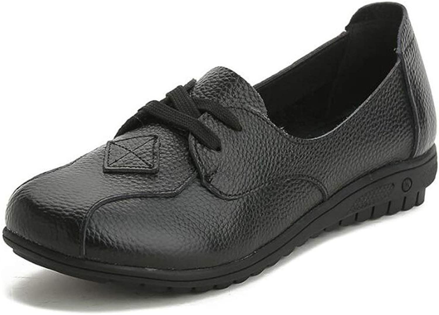 Fay Waters Women's Leather Casual Flat Moccasins Oxfords Lace Up Round Toe Comfort Driving shoes