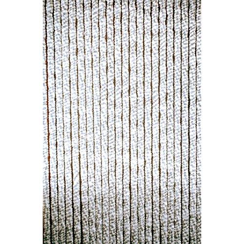 Chenille - Flauschvorhang 56 x 185 cm grau/weiss Wohnwagenmodel