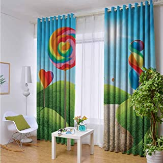Andrea Sam Thermal Insulated Blackout Window Curtain Fantasy,Fantasy Candy Land with Delicious Lollipops and Sweets Sun Cheerful Fun Print,Green Blue Red,W52 by L45 Inch Room Darkening