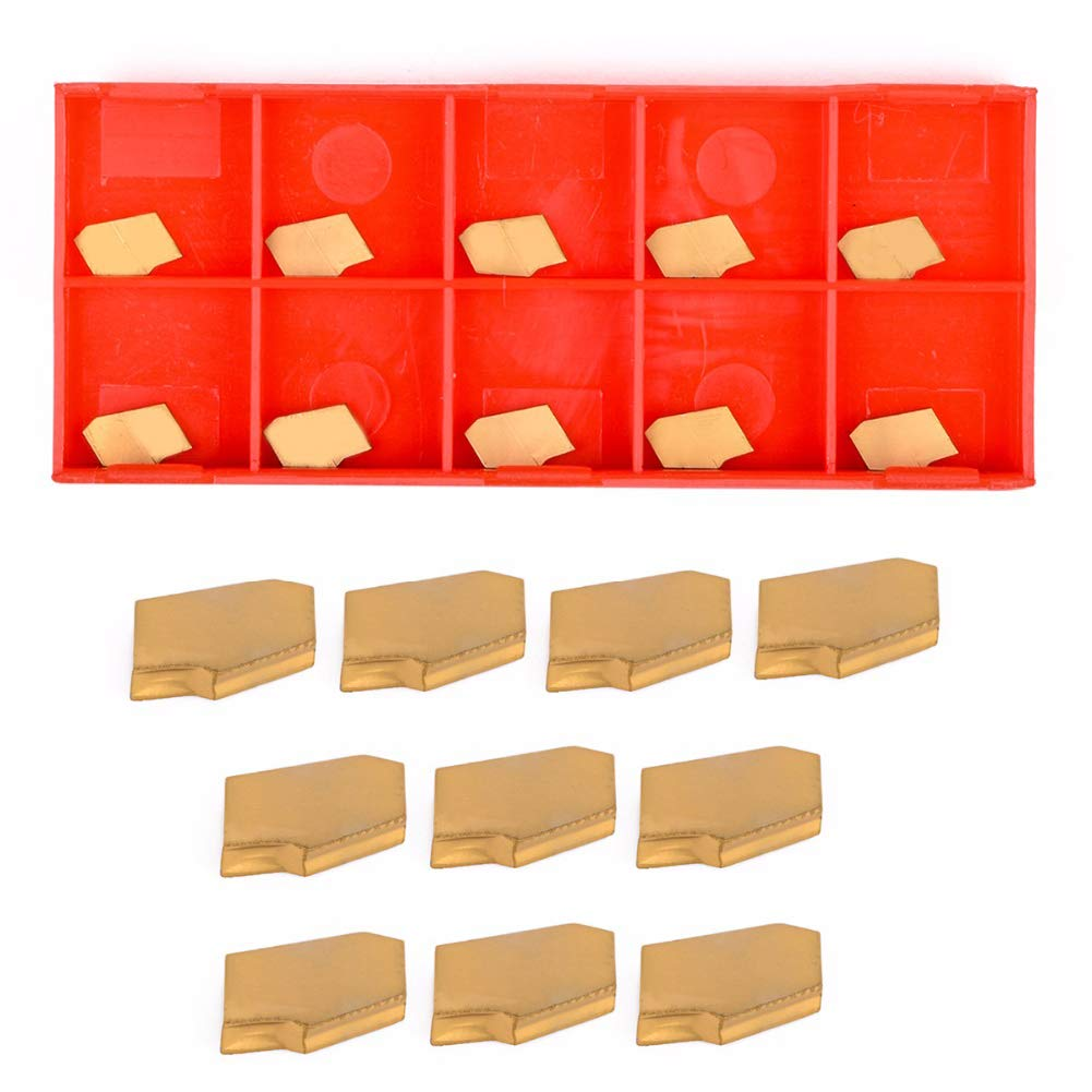 SZMYLED 10pcs Grooving Cut-Off Carbide Inserts 2mm Width for CNC Tool SP200 NC3020 GTN-2 Orange box