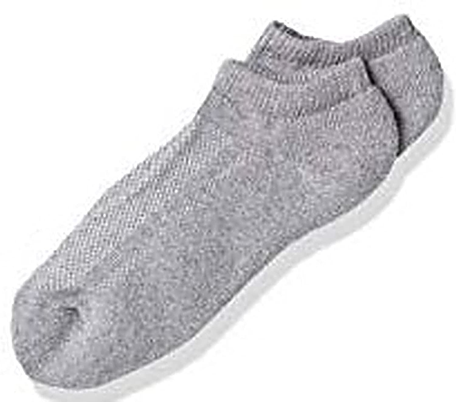 Fruit Of The Loom Boys Breathable 3 Pack No Show Socks, 3-9, Gray Assorted