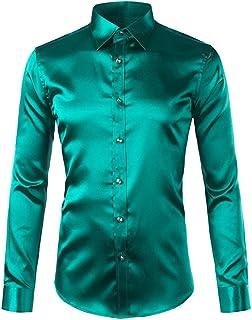 Ocean-beautiful Royal Blue Slim Fit Silk Satin Shirt Men Long Sleeve Mens Dress Shirts