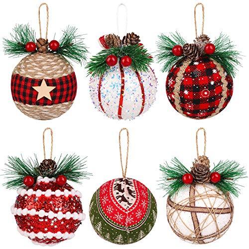 Motarto 6 Pieces Foam Christmas Ball Ornaments Hanging Decorations Black and Red Buffalo Plaid and Burlap Xmas Ball Ornaments Festive Embellishments