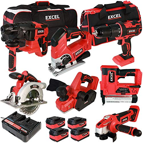 Excel 18V Cordless 7 Piece Tool Kit with 4 x 5.0Ah Batteries & Charger in Bag EXL7777