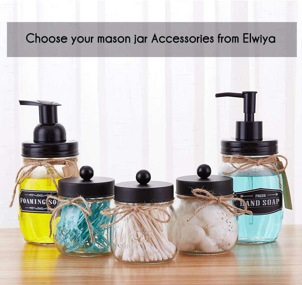 Elwiya Mason Jar Soap Dispenser with Black Plastic Pump and Lid - 16 Ounce Glass Mason Jar - Rust Proof - Rustic Bathroom Accessories &Kitchen Home Decor : Home & Kitchen