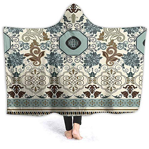 ThinkingPower Outdoor Blanket Pattern in Royal Style Ornaments Striped Signature Borders Colored Wearable Throw Cape Great for Walking in The Snow or Curling Up by The Fireplace 50 x 40 Inch