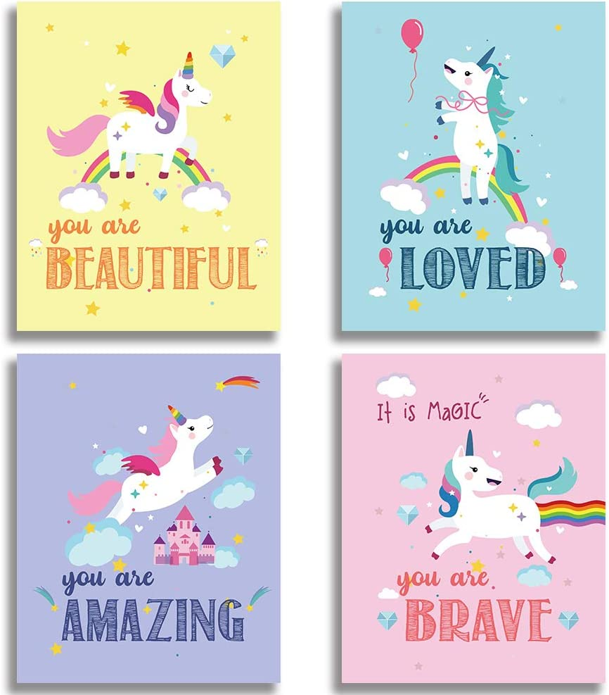 Colorful Baby Nursery Wall Unicorn Decor Bedroom At the price of surprise Virginia Beach Mall Funny
