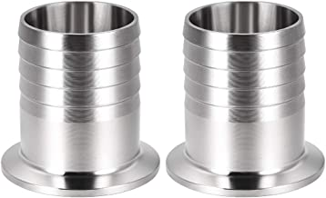 uxcell 2Pcs Sanitary Fitting 1.5 inches Tri Clamp to 1 1/2 inches Hose Barbed Adapter Pipe Coupling