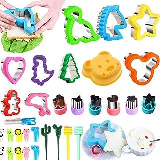 Nifogo Emporte-pièces Animaux Sandwiches Cutter 32 Pièces pour Enfants, Inclus Dinosaure, Mickey Mouse, étoile (32PCS)