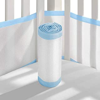Tonquu Baby Crib Bumper Pads for Standard Cribs Machine, Lightweight Washable Safe Hypoallergenic, Breathable Baby Mesh Crib Liner (Blue)