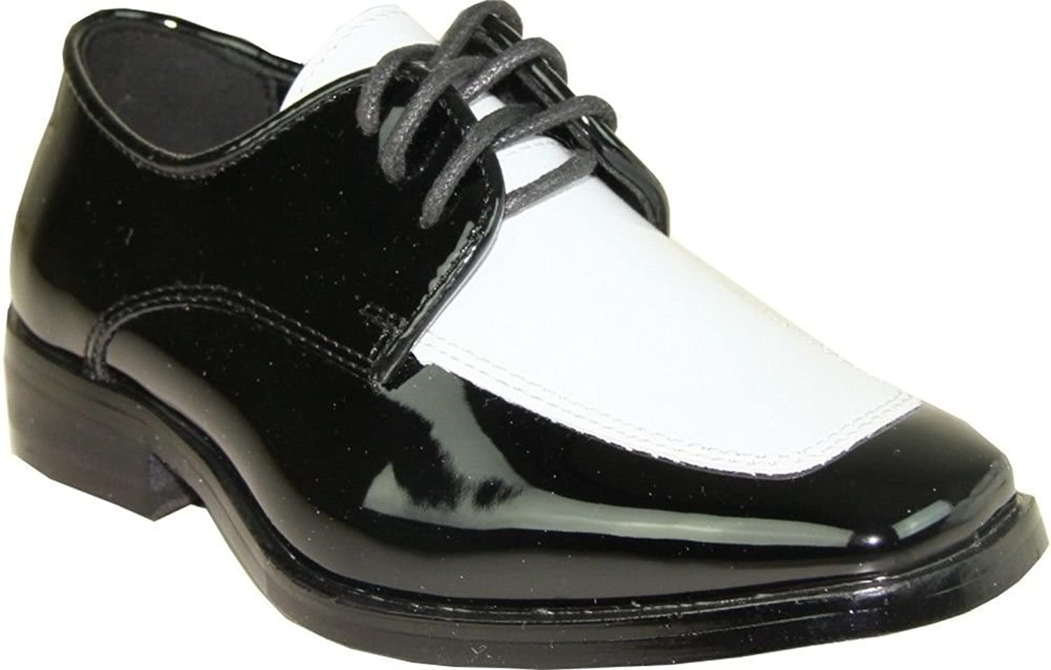 Bravo Vangelo Men's Tuxedo shoes Tux-3 Wrinkle Free Dress shoes Formal Oxford Black & White Patent