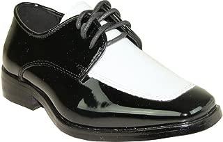 Vangelo Men's Tuxedo Shoes Tux-3 Wrinkle Free Dress Shoes Formal Oxford Black & White Patent