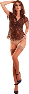 THIGH HIGH Open Toe Sheer Lace Top Silicone Stockings Nylon Hosiery 20 Den Toeless (L, Latte)