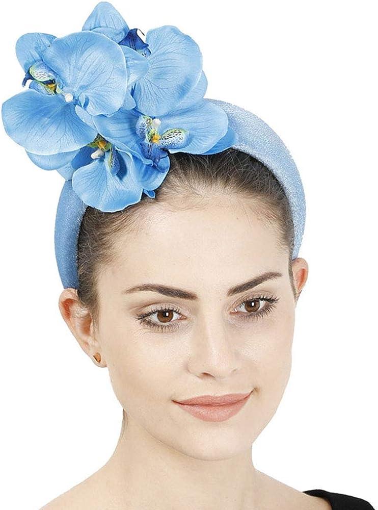 F FADVES Padded Bandeau Headpiece Women Fascinators Flower Headwear Elegant Wedding Cocktail Tea Party Hair Accessories