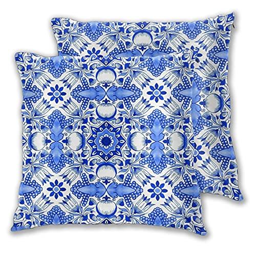 JISMUCI Juego de 2 Fundas de cojín,Acuarela Tradicional Azulejos Holandeses Azules Delft Flores Tulipanes Formas...
